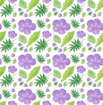 紫色の花とのシームレスなパターン
