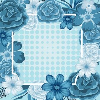 青い花のフレームテンプレート