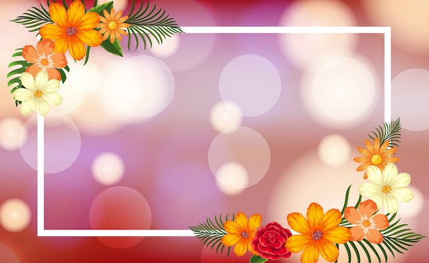 花と明るい光のフレームテンプレート