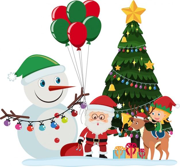 Дед мороз и снеговик у елки