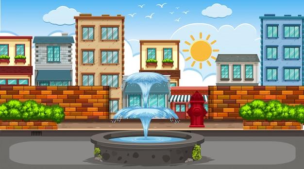 Уличная сцена с фонтаном