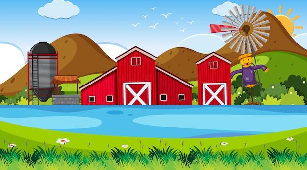 農場のある屋外シーン