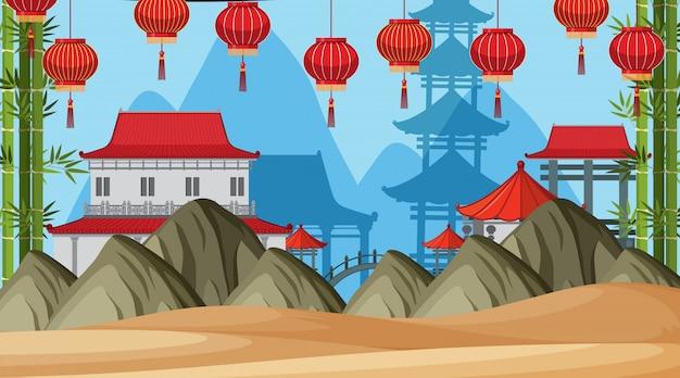 アジアの城のある屋外シーン