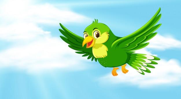 Сцена с голубым небом и зеленым попугаем