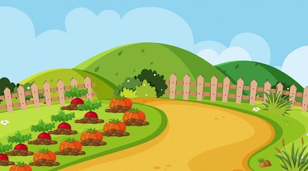 菜園のある風景のデザイン