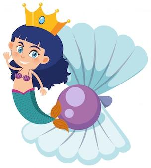 Одиночный персонаж русалки с жемчужиной