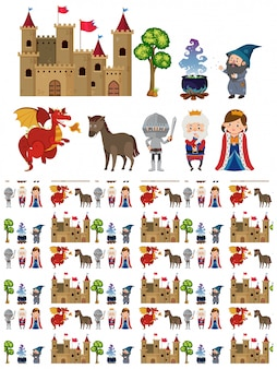 騎士、城などの中世のキャラクター