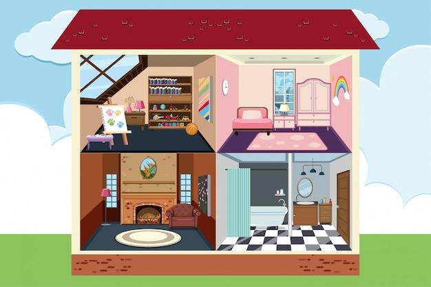 Дом с четырьмя комнатами полностью меблирован