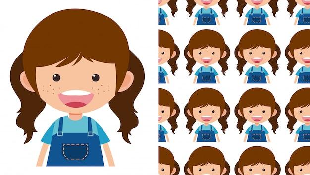 シンプルな子供キャラクターの白のシームレスパターン