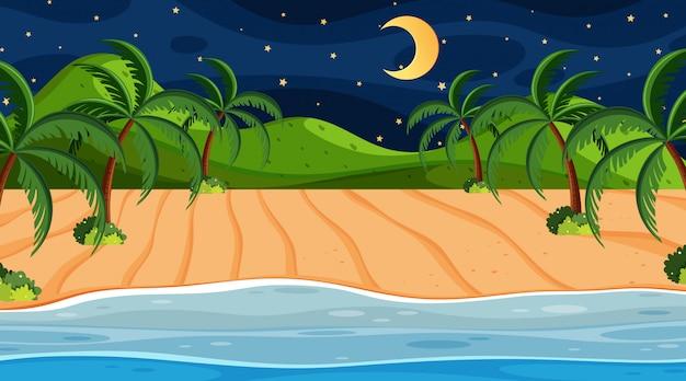 夜の海と自然の風景