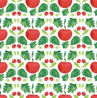 Бесшовные шаблон дизайна с яблоками и листьями