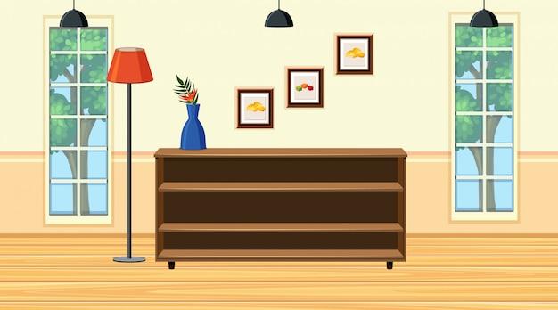 部屋に木製の棚があるシーン
