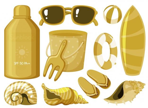 Изолированные летние вещи в желтом цвете