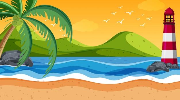 海岸の自然シーン灯台