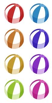 異なる色のビーチボールのセット