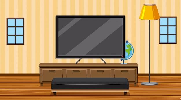 Комната с телевизором с большим экраном в комнате