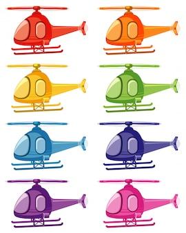 Набор вертолетов разных цветов