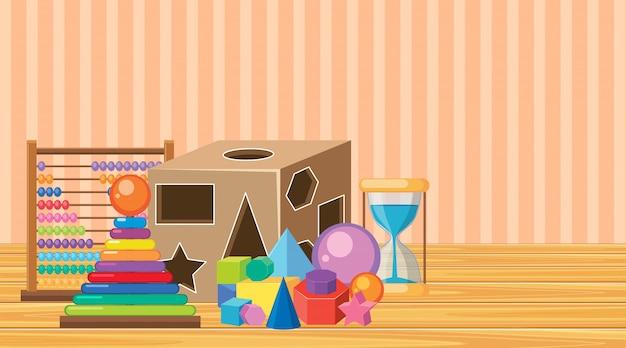 Комната с множеством игрушек на полу
