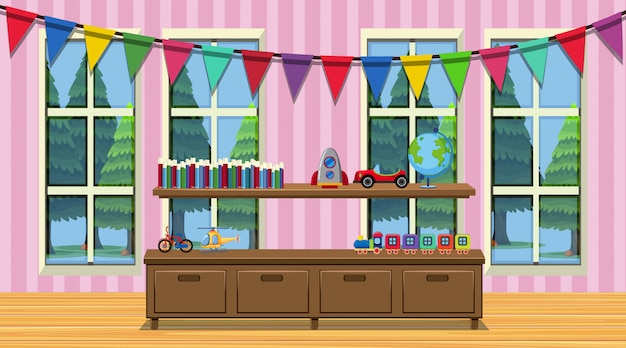 木製キャビネットと多くのおもちゃの部屋