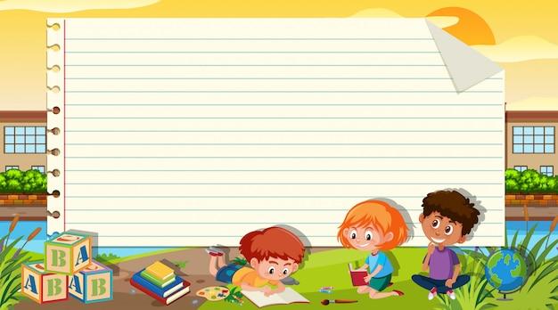 Шаблон границы с тремя детьми, чтение книги на фоне парка