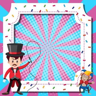 Шаблон рамы с дрессировщиком цирка и обезьяной
