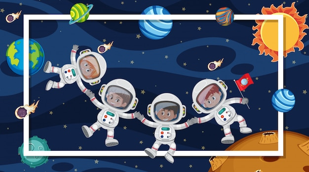 Сцена с космонавтами в космосе