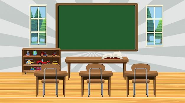 黒板と椅子のある教室のシーン