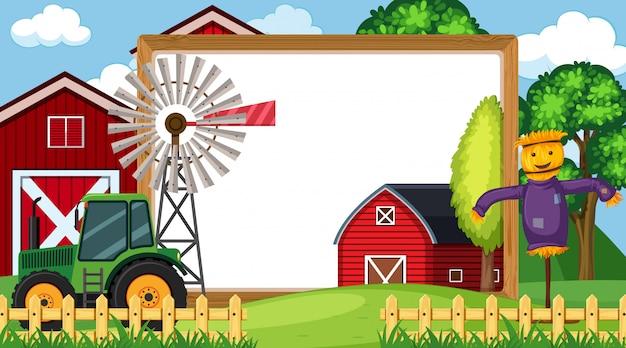 バックグラウンドで農場のシーンを持つフレーム