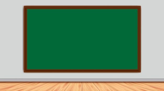 部屋の灰色の壁に緑のボード