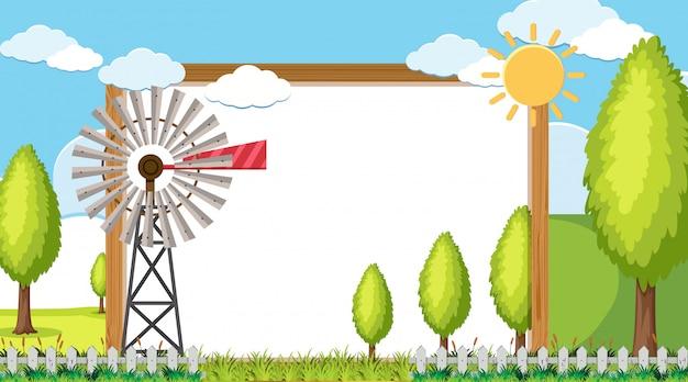 ファームの背景に風車のあるフレーム