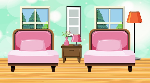 Комната с розовым диваном и подушками