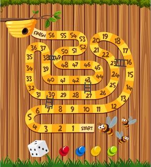 木の板に蜂と蜂の巣のゲーム