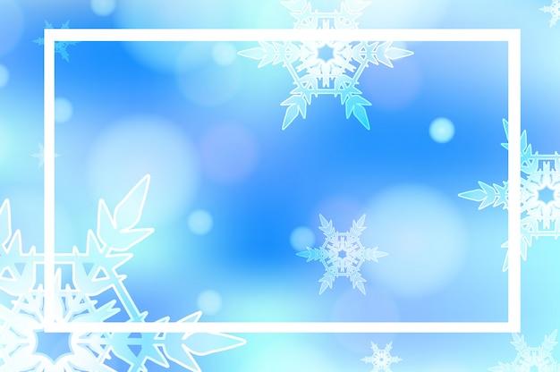 Шаблон рамы с фоном из снежинок