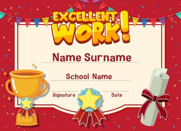 Шаблон сертификата для отличной работы с трофеем в