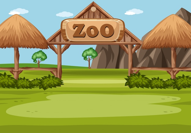 緑の野原に動物園の看板があるシーン