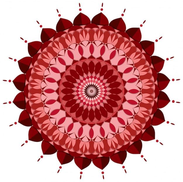 Мандала шаблон дизайна в красный цвет