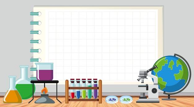 部屋の科学機器と紙のテンプレート