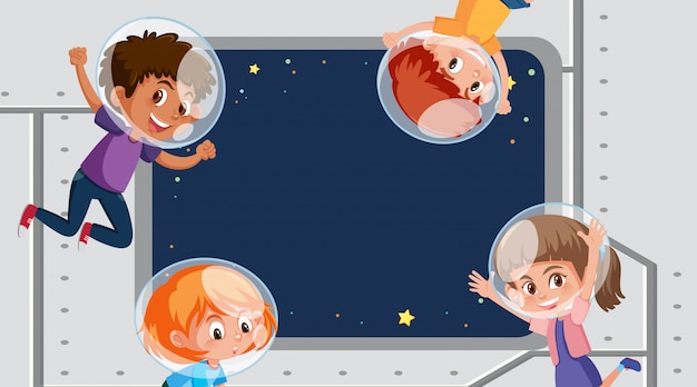 スペースで子供たちとフレームテンプレートデザイン