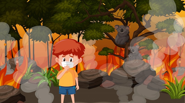 Сцена с мальчиком и животными в большом лесном пожаре