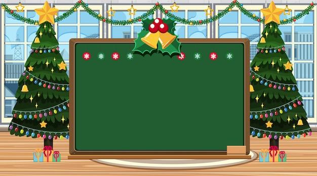 部屋にクリスマスツリーとボードテンプレート