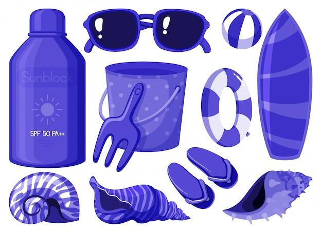 Изолированный набор летних предметов в синем цвете