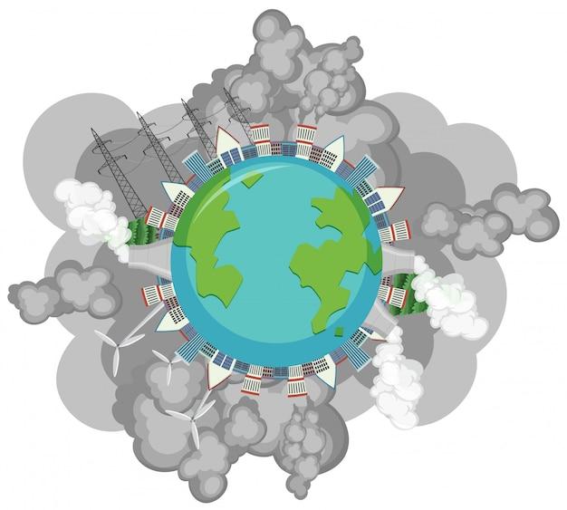 Загрязнение на земле с большим количеством дыма, выходящего из заводских зданий