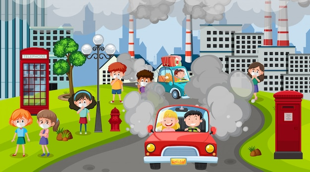 車や工場の建物が街で汚れた煙を作っているシーン
