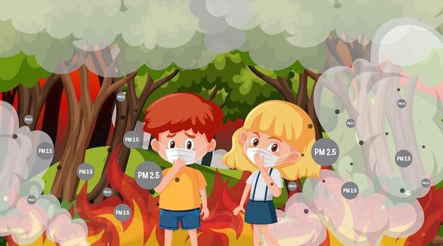 Сцена с мальчиком и девочкой в большом лесном пожаре