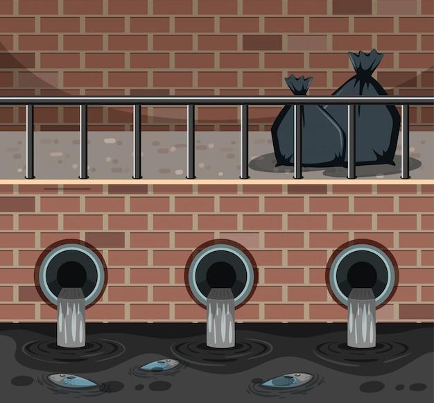 市内のゴミ袋と汚れた水のシーン