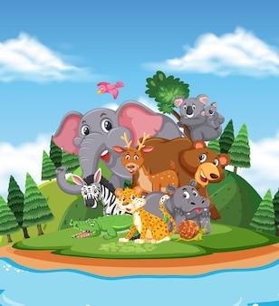 Сцена с дикими животными, стоящими у озера