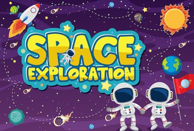 宇宙飛行士と太陽系と宇宙の背景テーマ