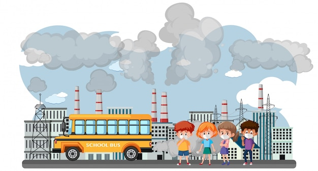 Сцена с машинами и заводскими зданиями, создающими грязный дым в городе