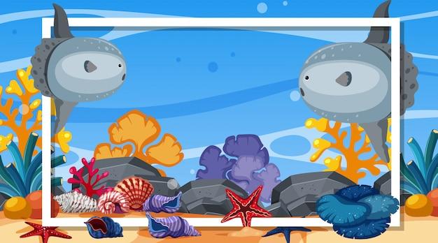 Рамка шаблона дизайна с морскими существами под океаном