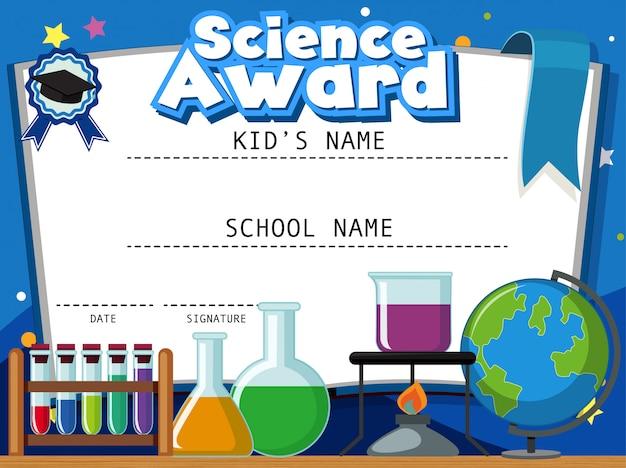 Шаблон сертификата на научную награду с научным оборудованием